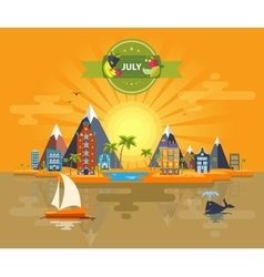 Summer landscape Small town vector image