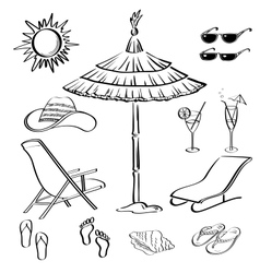 Summer objects outline vector image vector image