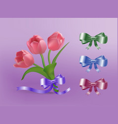 tulips and ribbon vector image