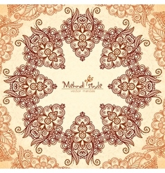 Vintage round seamless pattern in Indian mehndi vector image vector image
