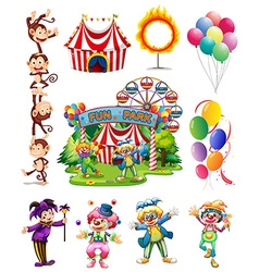 Clowns and other objects from circus vector image
