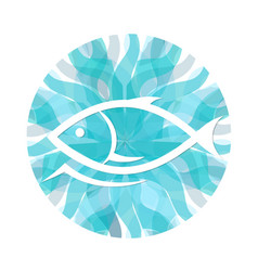 fish on a background of waves vector image vector image