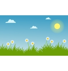 Landscape of spring with beauty flower vector