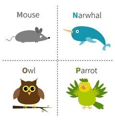 Letter M N O P Mouse Narwhal Owl Parrot Zoo vector image vector image