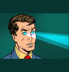 man x-ray eyes scanning vector image vector image