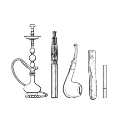 Set of smoking accessories - hookah cigarettes vector image