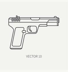 Line flat plain military icon handgun vector