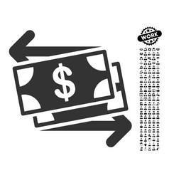 Money exchange icon with work bonus vector