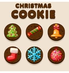 Set Cartoon Christmas Chocolate biskvit cookies vector image