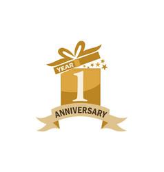 1 years gift box ribbon anniversary vector