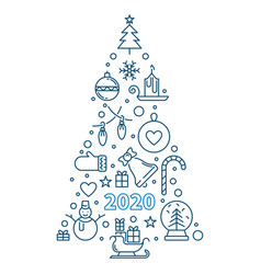 2020 new year tree concept outline vector image