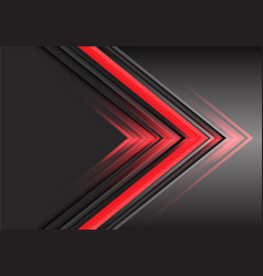 abstract red arrow light power direction on grey vector image