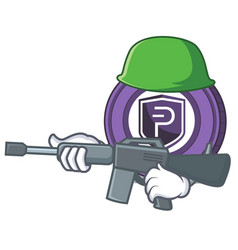 army pivx coin character cartoon vector image