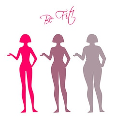 Be fit woman silhouette images vector image