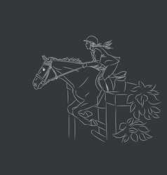 beautiful girl and horse jumping vector image