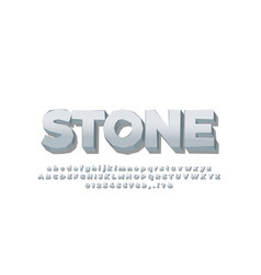 Bold 3d stone silver font effect or text effect vector