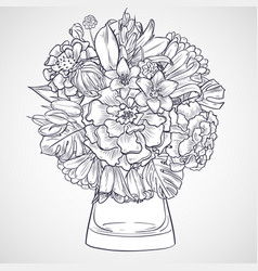bouquet of marygold and bluebells flowers vector image