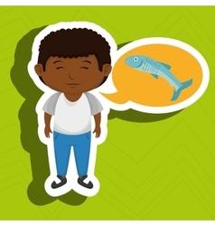 Boy cartoon food fish fresh vector
