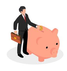Businessman stands piggy bank savings isometric vector