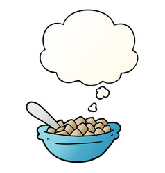 Cartoon cereal bowl and thought bubble in smooth vector