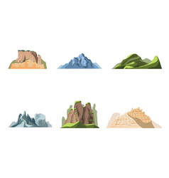 cartoon color nature landscapes mountains set vector image