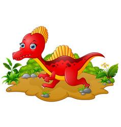 Cartoon red spinosaurus vector