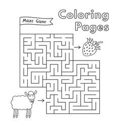cartoon sheep maze game vector image vector image