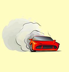 Cartoon sport car fast drive drift red vector