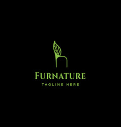 Chair nature logo design with green color icon vector