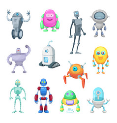 Characters of funny robots in cartoon style vector