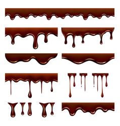 chocolate dripped sweet flowing liquid food with vector image