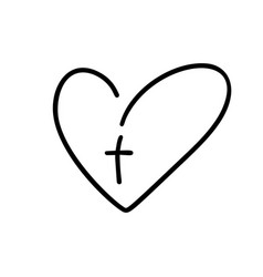christian logo heart with cross on a white vector image