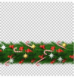 christmas border with berry star candy vector image