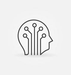 circuit board head icon in thin line style vector image