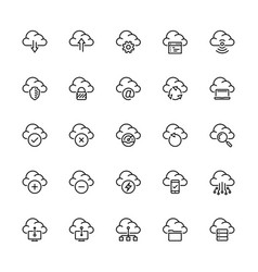 cloud technology and computing icon set in thin vector image