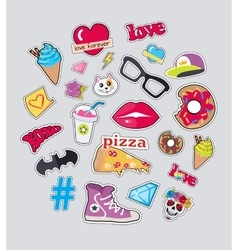 Collection of things for teens stickers set vector
