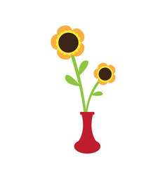 cute sunflower on a pot vector image