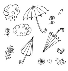 doodles of umbrellas of clouds of flowers vector image