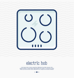 electric hob thin line icon vector image