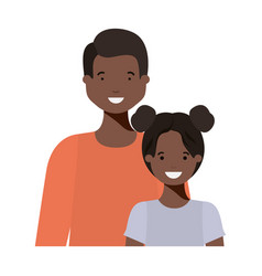 father with his daughter smiling avatar character vector image
