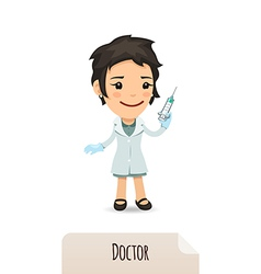 female doctor with vaccine vector image