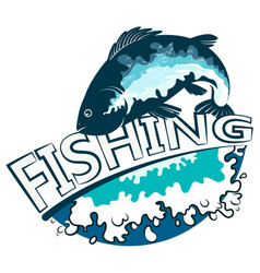 fish and waves fishing vector image