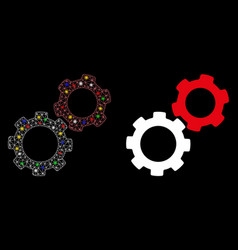 Flare mesh network gears icon with flare spots vector