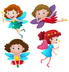 four cute fairies flying vector image