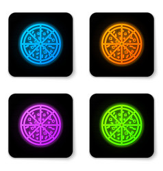 glowing neon pizza icon isolated on white vector image