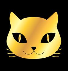 Golden cat icon vector
