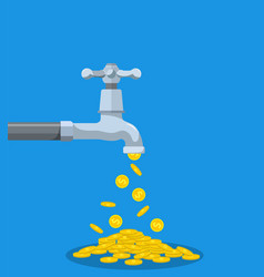 golden coins fall out of the metal tap vector image
