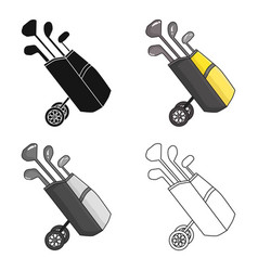 golf bag on wheels with clubs icon in cartoon vector image