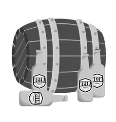 grayscale wooden barrel with bottles of beer vector image