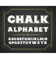 Hand drawn alphabet on chalkboard vector image vector image